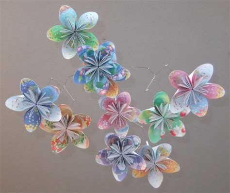 Origami Flower Mobile - floral fantsy origami flower mobile aftcra