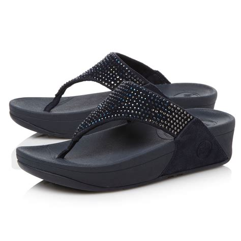 Sequined Wedge Sandal by Lyst Fitflop Flare Sequin Tpost Wedge Sandals In Blue