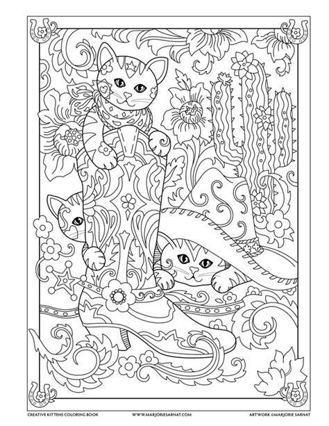 creative cats coloring pages cowboy boot creative kittens coloring book by marjorie