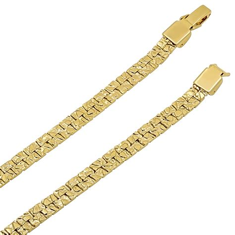 14k gold 5 5mm 14k gold plated nugget chain ebay