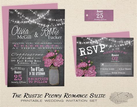 jar rustic wedding invitation set printable