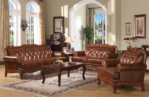 Traditional Leather Living Room Sets by Leather Living Room Set With Traditional Multi Tone Brown Colors Decolover Net