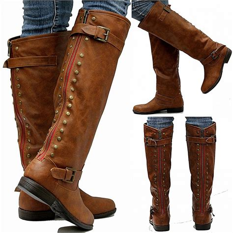 Zipped Bootie new womens jm18 zipper studded knee high