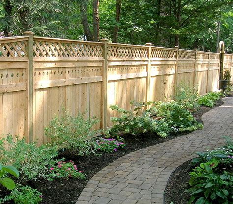 Design For Lattice Fence Ideas White Wood Fence Designs Semi Wood Fence With Square Lattice By Elyria Fence