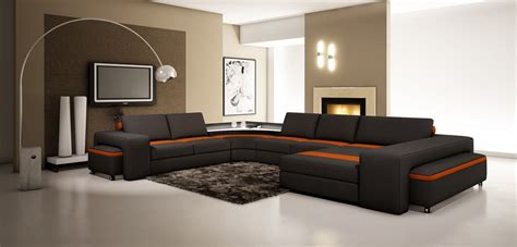 casa divani divani casa 5030 modern black and orange leather sectional