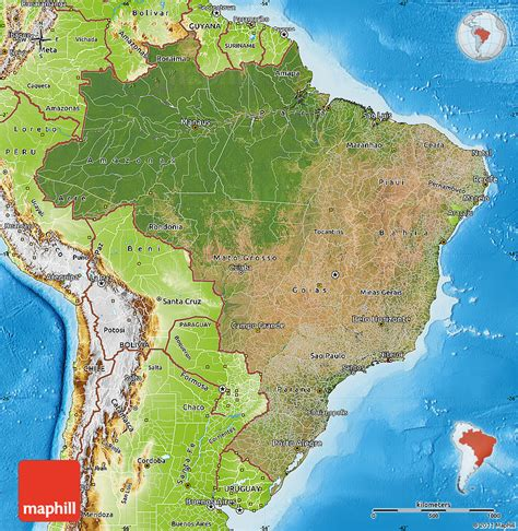 satellite map of brazil satellite map of brazil physical outside