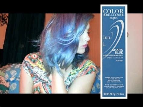 ion color brilliance brights mixed with developer dying hair using shark blue ion color brilliance