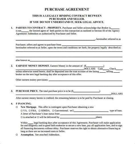 free real estate purchase agreement template template design
