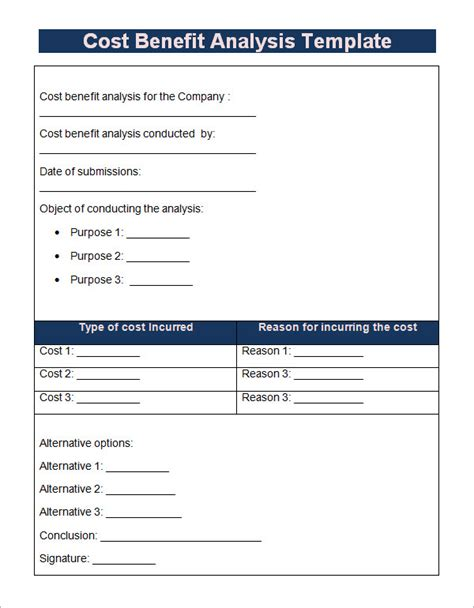 business cost benefit analysis template cost benefit analysis template 13 free