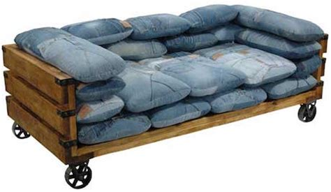 jeans couch reusing denim upcycled denim furniture