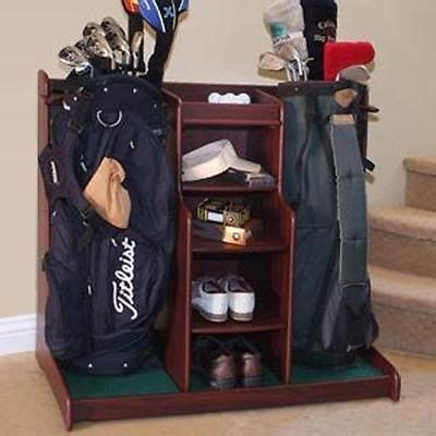 double golf bag storage rack garage caddy organizer golf