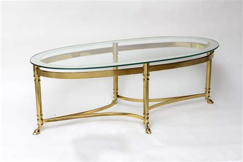 oval brass coffee table with mirrored glass top at 1stdibs