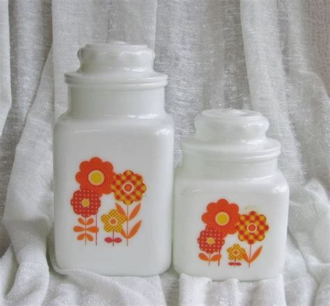 kitchen canister set metal yellow flower by by retro kitchen canister set orange and yellow flowers