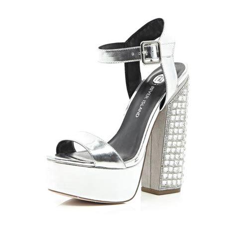 Platform High Silver And White silver platform gemstone statement heels endource