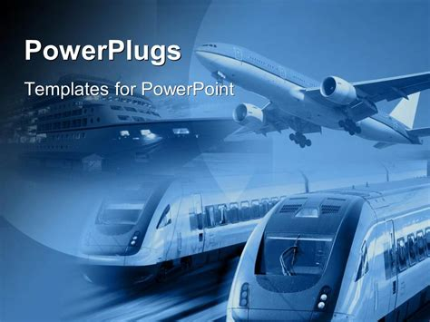 powerpoint themes transportation powerpoint template airplane train and ship at one place