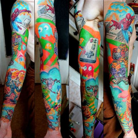 nintendo sleeve tattoo designs nintendo new school sleeve by elvis