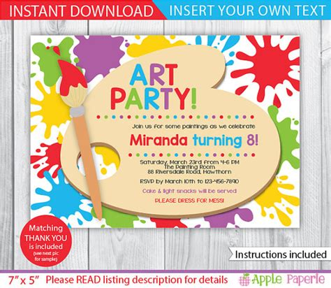 free printable art birthday invitations items similar to art party printable art party