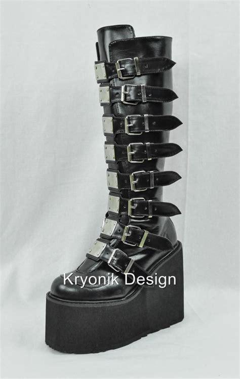 demonia swing 815 demonia swing 815 cyber buckled knee high platform