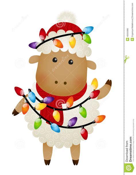 cute sheep with christmas light bulbs stock vector image
