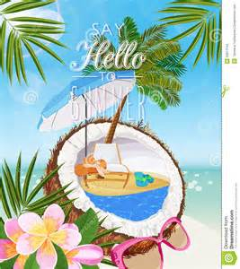 seaside view on sunny day with sand coconut beach chair sunglasses beach umbrella tropical