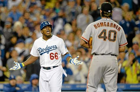 www clayton com dodgers yasiel puig giants madison bumgarner give much