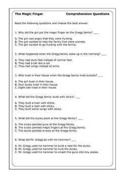 "Roald Dahl ""The Magic Finger"" worksheets by Peter D 