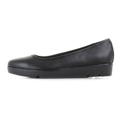 Buzz Black Shoes womens clarks evie buzz black leather low wedge work school shoes shu size