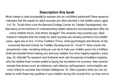 Pdf How Toddlers Thrive Children Lifelong by How Toddlers Thrive What Parents Can Do Today