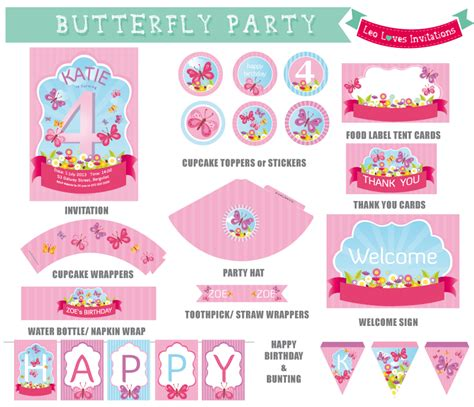free printable butterfly birthday decorations butterfly party printable leo loves invitations