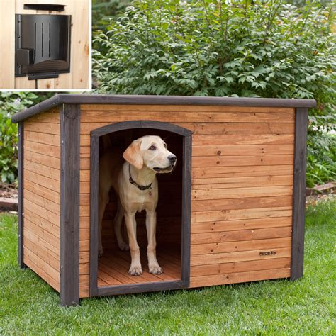 how to heat an outdoor dog house precision outback log cabin dog house with heater dog houses at hayneedle