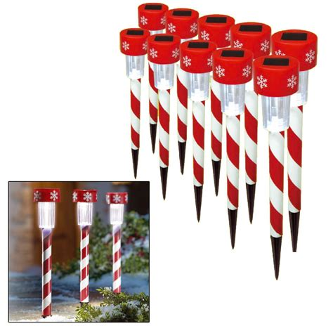 10 x christmas xmas solar led stick lights outdoor garden