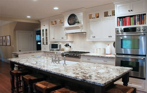 Dark Brown Cabinets Kitchen by Delicatus White Granite
