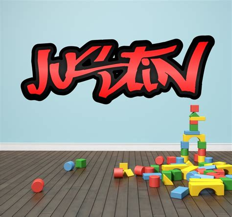 graffiti wall stickers personalised graffiti name wall sticker mural boys