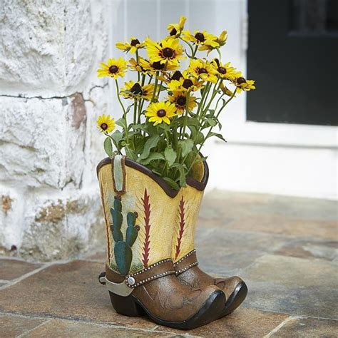 cowboy western theme garden planters cowboy boot vase shop collectibles online daily