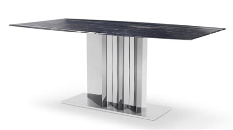 Marble Dining Table Base Nero Modern Dining Table With Black Marble Top And Stainless Steel Base Zuri Furniture