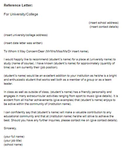 Reference Letter For Student Uk How To Write A Reference Letter For Student Scholarship
