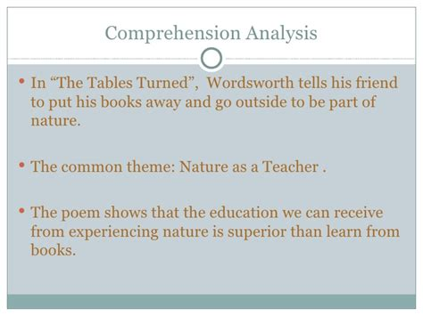 The Tables Turned Wordsworth by The Tables Turned Presentation