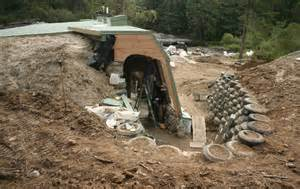 Main house earthship west wing exit and tire wall to support berm for