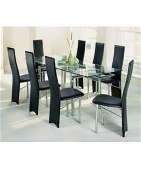 extending glass dining table and 8 chairs dining