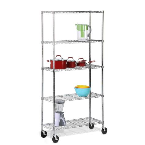 shelves on casters honey can do 5 tier chrome shelving unit with casters