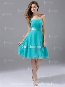 teal simple chiffon knee length a line strapless