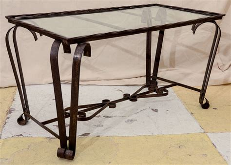 1940 s wrought iron glass top coffee table at 1stdibs