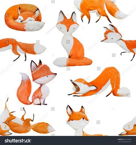 watercolor fox pattern seamless pattern cute watercolor fox stock illustration