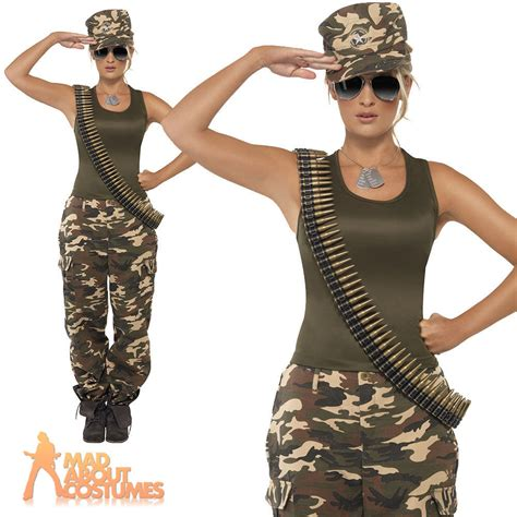 woman soldier costume ladies army girl costume camo khaki soldier uniform fancy