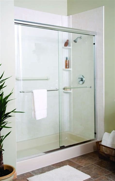 walk in shower with sliding glass shower door white pan
