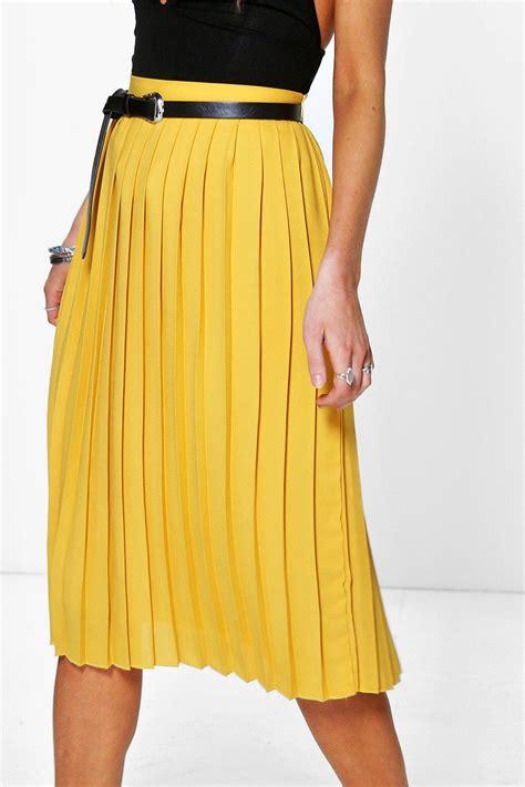 boohoo womens nieve chiffon pleated midi skirt ebay