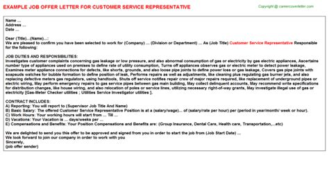 Special Offer Letters To Customers customer service representative offer letter 959361010