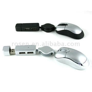 Optical Mini Mouse With Built In Flash Memory by 3 In 1 Mini Optical Mouse And Hub With Optional Flash Memory