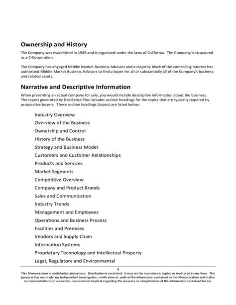 confidential information memorandum template confidential information memorandum free