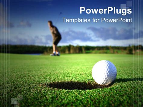 Powerpoint Template Golf Ball Near The Hole And Golf Player Faded In The Background On Golf Golf Powerpoint Templates